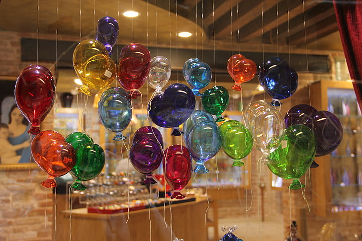 glass blowing, glass, balloons, ballons, colorful, joy, heart