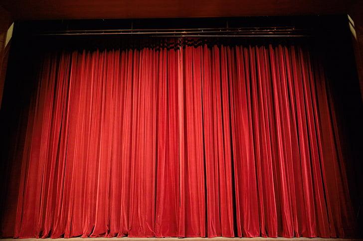 Театр, занавес, этап, красный, события, акт, развлечения