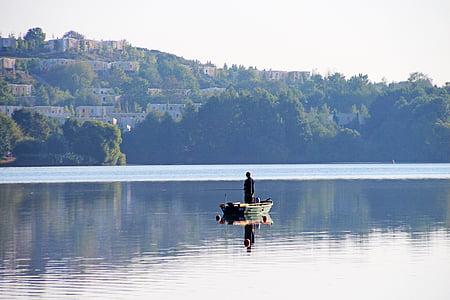 Llac silenci, matí tranquil, pescador, vaixell de pesca, oci, natura, morgenstimmung