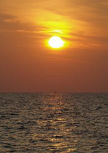 tramonto, mare, Abendstimmung, sole