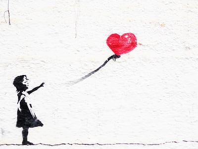 graphite, wall, child playing, heart, girl, love, romance