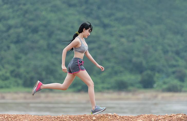 Dame, joging, Rush, sport, en plein air, œil, peuple caucasien