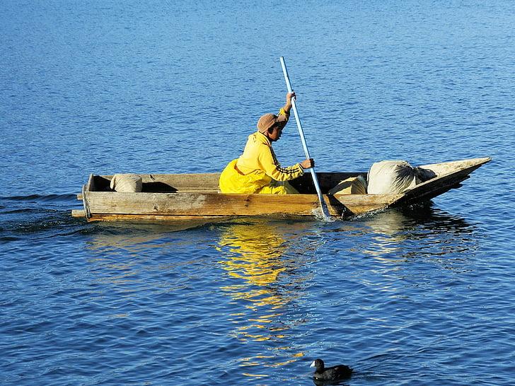 Guatemala, Atitlan, loďou, rybár, jazero, Navigácia, lodné rybár