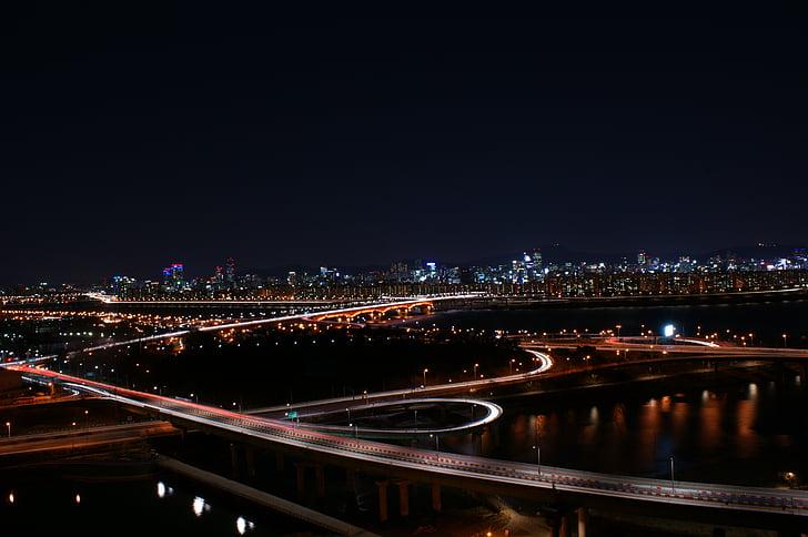 el cel de nit, carretera, vista nocturna, camí d'entrada, paisatge de nit, nit de Corea, llum