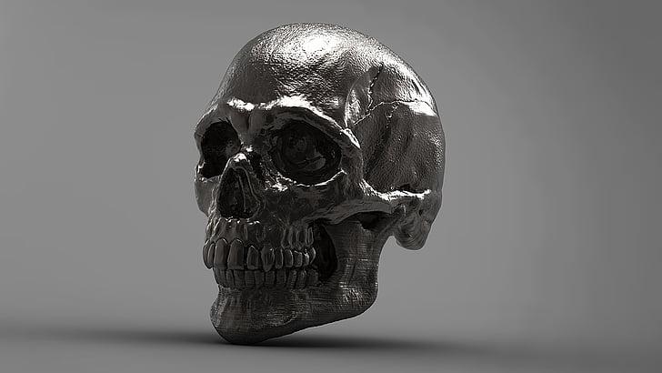 Gümüş, Kafatası, 3D, iskelet, Stüdyo vurdu, Tek nesne, yakın çekim