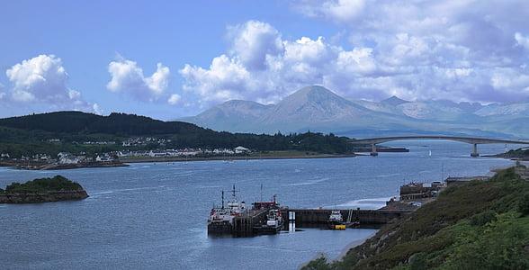 scotland, lake, quiet, sky, blue, clouds, summer