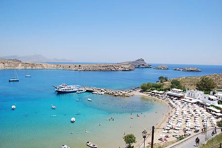 Lindos, plaža, Rhodes, Otok, Grčka, Grčki otok, marinac