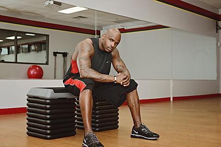 Kuntokeskus, kaveri, musta, liikunta, kuntoliikunta, Fitness mies, mies