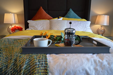 breakfast in bed, bed, bedroom, tray, coffee, breakfast, lamp