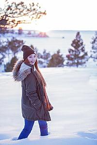 winter, snow, cold, season, nature, pretty, redhead