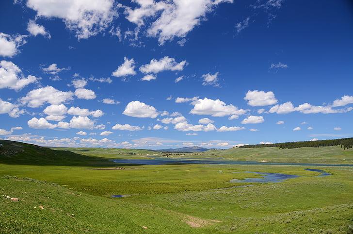 Hayden valley, Yellowstone, Valley, maastik, roheline, taevas, sinine