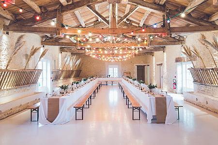 Hall, sectionnel, salle à manger, ensemble, couleur, a conduit, ampoules