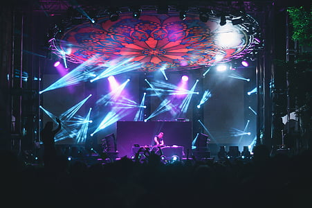 dj, playing, turntable, concert, stage, people, crowd