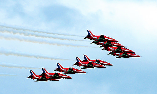 red arrows, united kingdom, farnborough air show, airplanes, jets, flying, aircraft