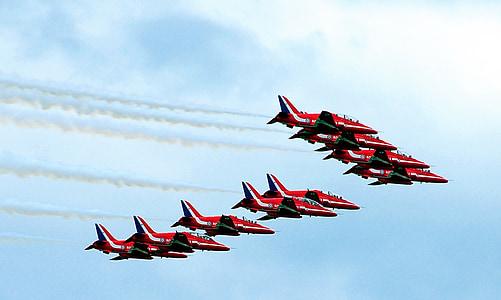 piros nyilak, Egyesült Királyság, Farnborough air show, repülőgépek, fúvókák, repülő, repülőgép