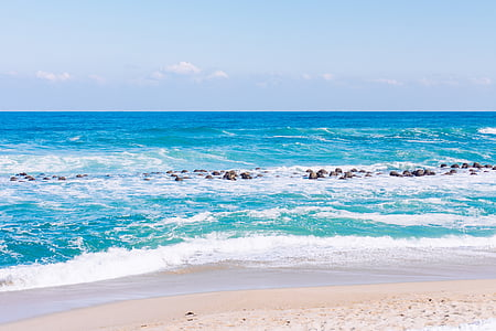 Gangneung, jūra, žiemą, dangus, Korėja, paplūdimys, bangos