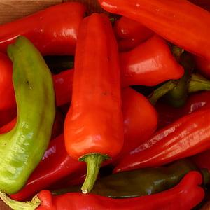 paprika, pepperoni, punane, roheline, köögiviljad, toidu, taimne