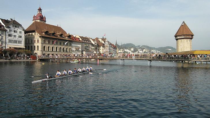 Lucerna, cursa de Reuss, Kappel pont, Torre d'aigua, Pont, Rem, cursa de rem