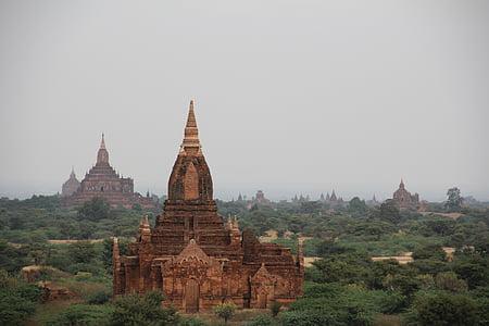 Pagoda, Bagan, Myanmar, templet, Burma, Asia, tegelstenar