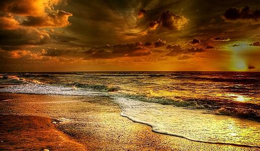 Dinamarca, praia, mar, Mar do Norte, areia, férias, céu dramático