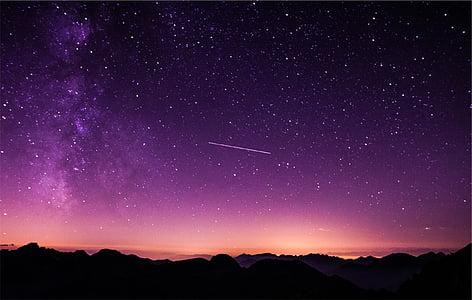 siluett, mägi, videvik, lilla, taevas, Dusk, shooting star