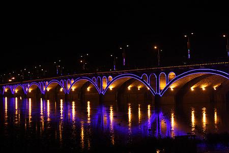 bridge, city, night view, night, river, bridge - Man Made Structure, architecture
