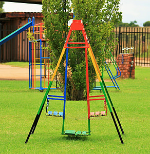 playground, children, colorful, grass, lawn, green, outdoors