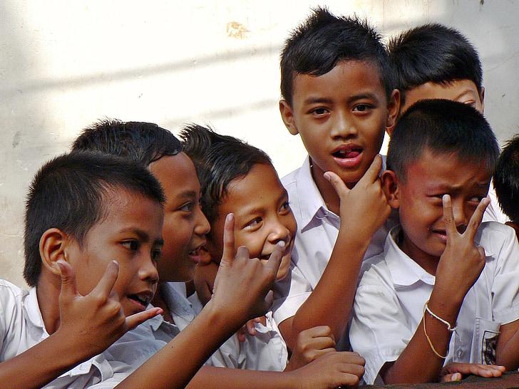 Indonesien, Bali, skolbarn, lekfull, barn