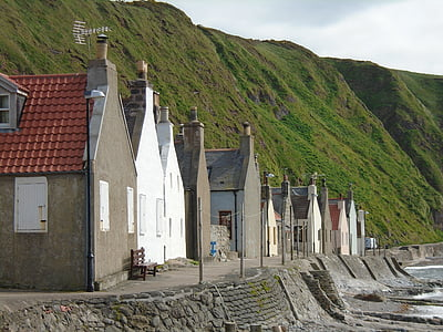 cottages, scotland, landscape, old, coast