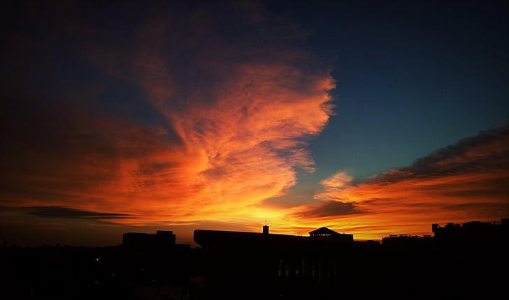 Universidade de Guangdong oceano, pôr do sol, a paisagem, silhueta, céu dramático, sem pessoas, céu