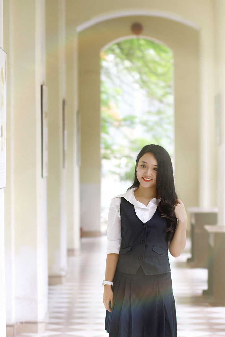beautiful, girl, vietnamese, young, students, uniform