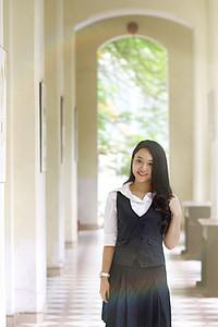 mooie, meisje, Vietnamees, jonge, studenten, uniform