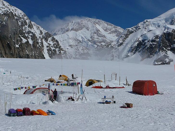 muntanyisme, Basecamp, paisatge, neu, gel, fred, a l'exterior