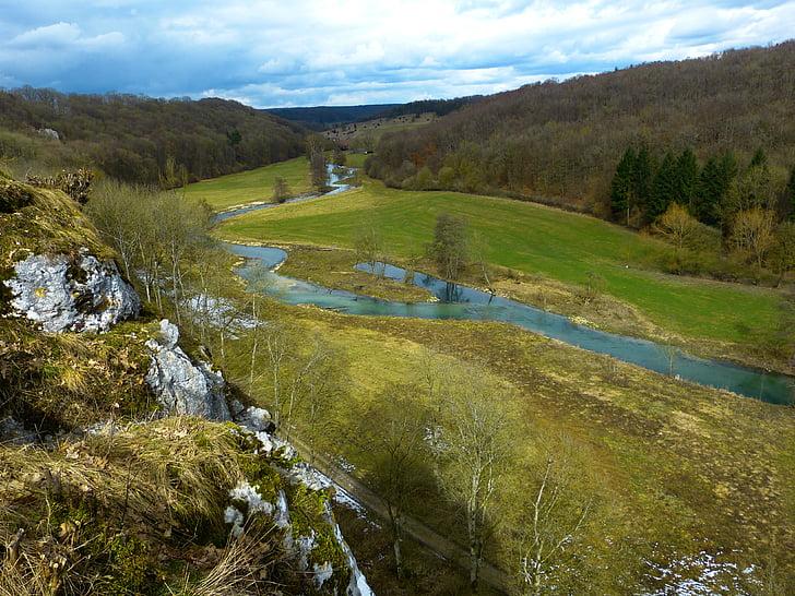 eselsburg valley, brenz, jõgi, vee, Valley, maastik, loodus