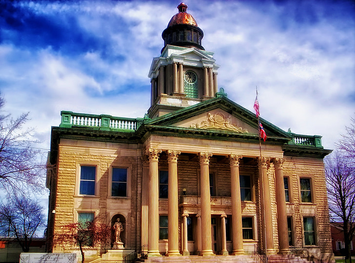 courthouse, bucyrus, ohio, law, government, building, hdr