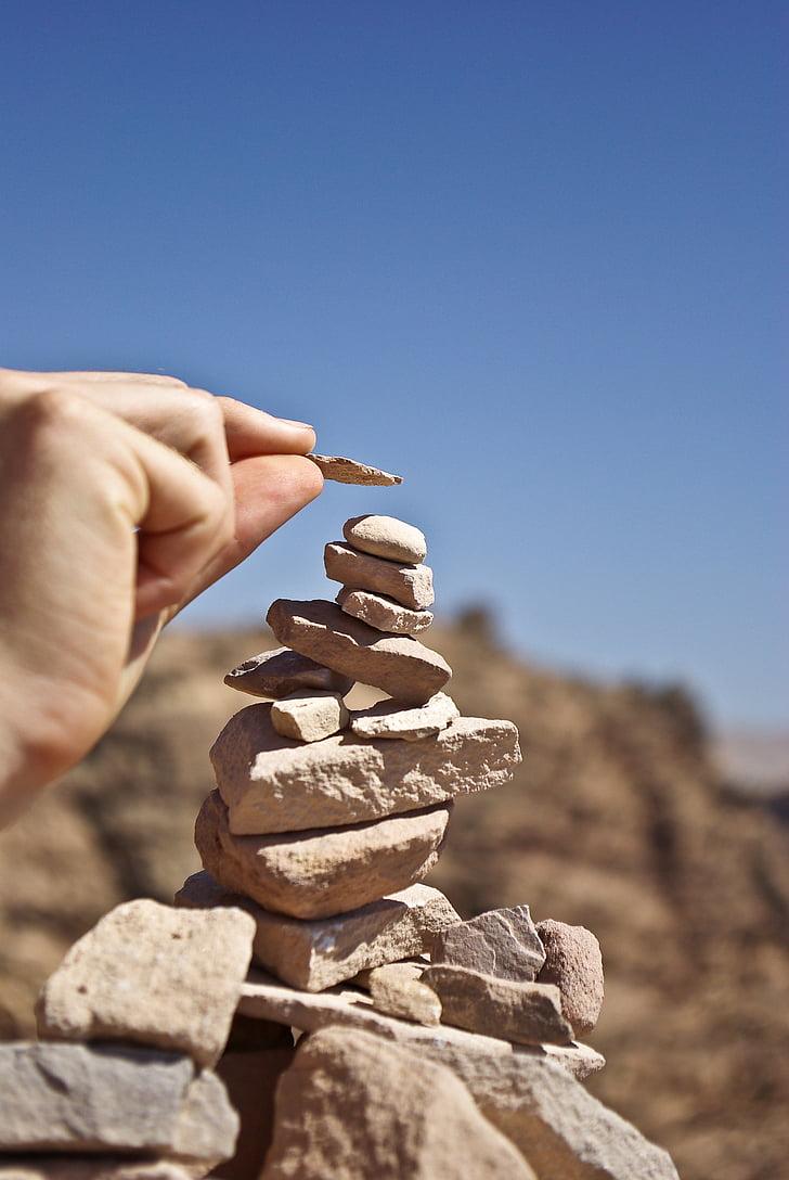 Petra, Jordanie, pierres, pile, désert, nature, Pierre - objet