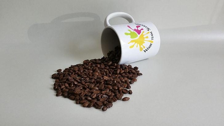 koffiebonen, koffiekopje, koffie, koffiemokken, bonen, gezellige, hete