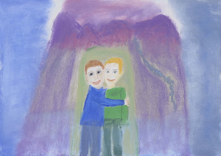 drawing, painting, image, children, children laughing, crystal children, joy of life