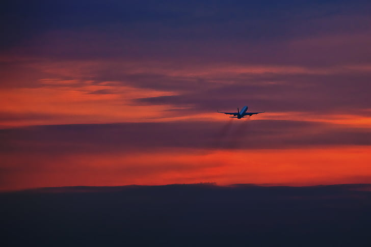Wanderlust, ilma-aluksen, taivas, lentää, lomamatkat, lentää pois, lento