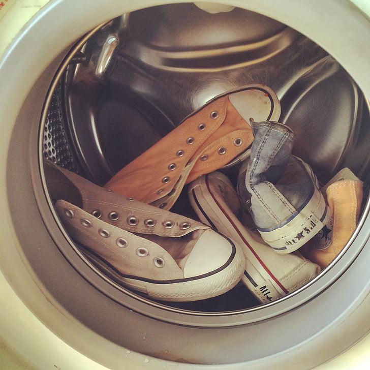 kingad, valge, seadme, pesumasin, Pesumaja, masinad, majapidamistööd