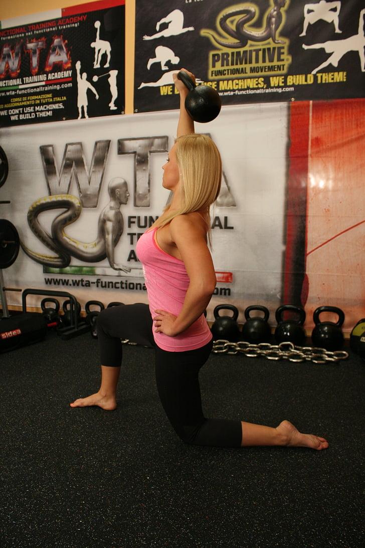 fonctionnels, mobilité, articulaire, exercices, formation, femme, séance d'entraînement