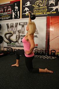 funktionelle, mobilitet, artikulære, øvelser, uddannelse, kvinde, træning