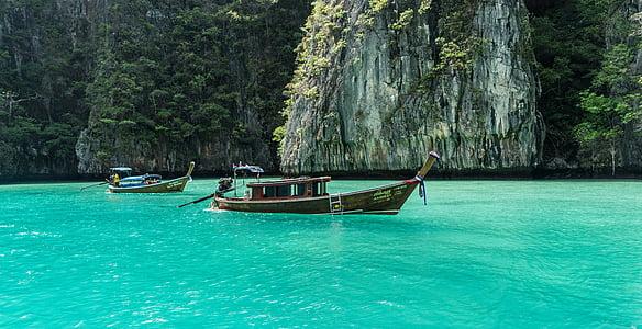 Tailàndia, Phuket, phi phi de Koh, gira de l'illa, barques de colors, Mar, viatges