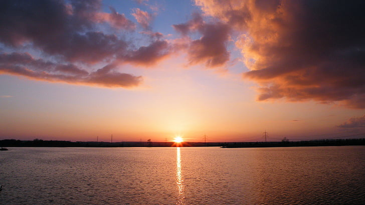 zalazak sunca, oblaci, večernje nebo, abendstimmung, atmosferski, sumrak, elbaue
