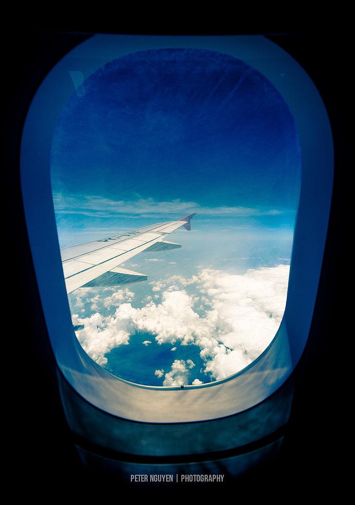 vliegtuig, vliegtuig, venster, vleugel, Wing-tip, wolk, bewolkt