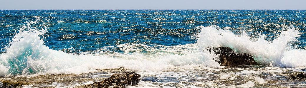 bølge, Smashing, DROPS, væske, skum, spray, sjøen