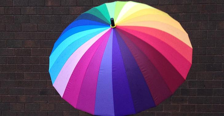 parapluie, couleurs, rayé, protection, eau, protection contre la pluie, coloré
