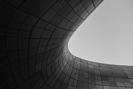 must, kõverad, read, tume, arhitektuur, disain, Art