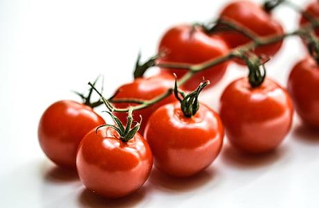トマト, チェリー, 赤, 食品, 野菜, 新鮮です, グリーン