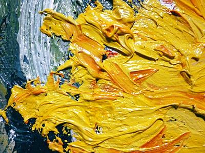 oli, groc, pintura, flor, gira-sol, Art, pintura d'oli
